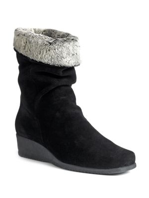 Fancy Faux Fur Trimmed Suede Wedge Boots by La Canadienne