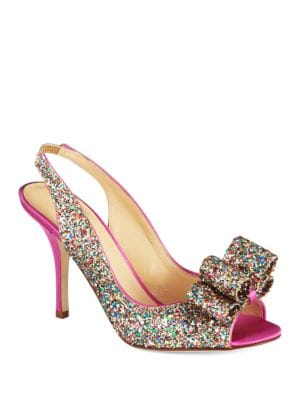 Charm Satin and Glitter Leather Slingback Pumps by Kate Spade New York