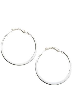 Sterling Silver Flat Hoop Earrings 500015328297