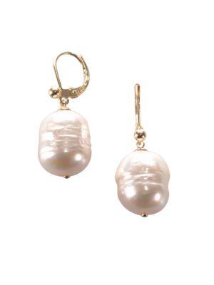 12MM White Baroque Pearl & 14K Yellow Gold Huggie Drop Earrings 500015751167