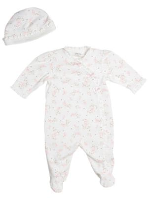Newborn Girls 09 Months Ruffled Footie Coveralls with Hat