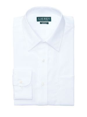 Regular Fit Non-Iron White Twill Dress Shirt by Lauren Ralph Lauren