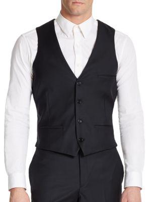 Slim-Fit Wool Vest @...