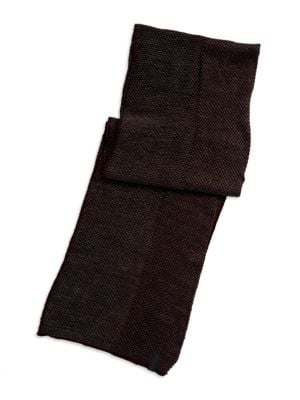 Tweed Scarf With Solid Trim by Calvin Klein