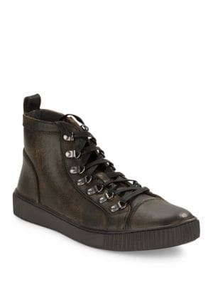 Textured Leather Sneakers by John Varvatos