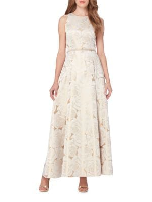 Floral Jacquard Gown by Tahari Arthur S. Levine