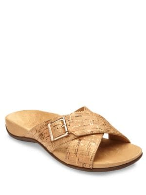 Buy Dorie Crisscross Printed Slide Sandals by Vionic online