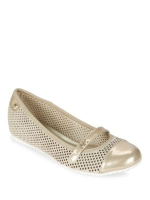 Zariel Perforated Suede Flats by Anne Klein