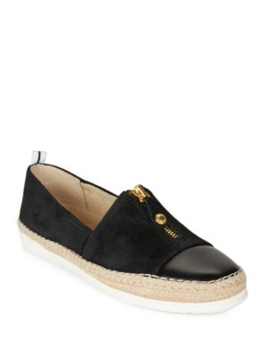 Zipdown Suede and Leather Espadrille Slip-Ons by Anne Klein