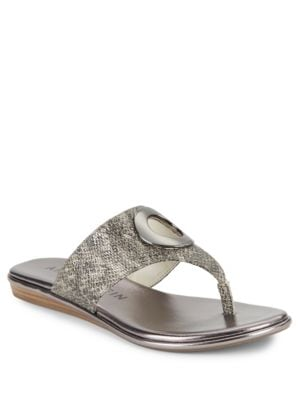 Gia Leather Thong Sandals by Anne Klein