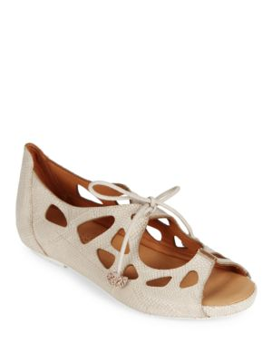Brynn Laser Cut Leather Lace-Up Flats by Gentle Souls