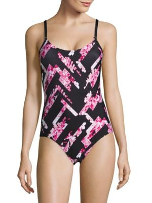 Abstract Floral One-Piece Swimsuit by Calvin Klein