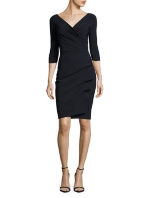 Three-Quarter-Sleeve Pleated Sheath Dress by La Petite Robe di Chiara Boni