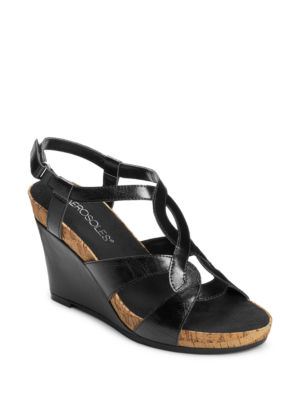 Fabuplush Faux-Leather Wedge Sandals by Aerosoles