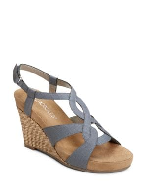 Fabuplush Faux-Leather Looped Wedge Sandals by Aerosoles