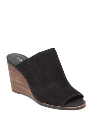 Jillah Suede Wedge Mules by Lucky Brand