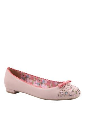 Buy Marielle Floral Lazer-Cut Leather Flats by Nina online