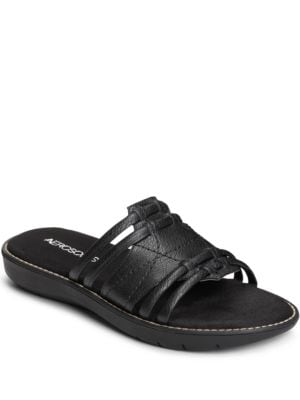 Super Cool Faux-Leather Slip-On Sandals by Aerosoles