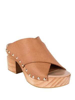 Dionne Block Heel Leather Slide Sandals by Andre Assous