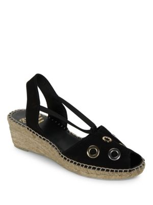 Delicate Grommet Accented Leather Espadrilles Slingback Sandals by Andre Assous