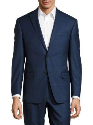 Windowpane Wool Pants Suit by Michael Kors