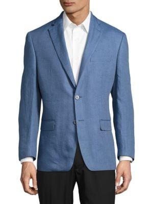 Linen Two-Button Blazer...