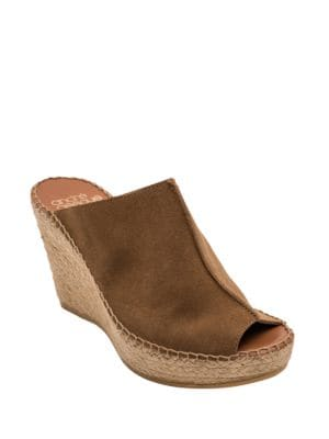 Cici Suede Espadrille Wedge Mules by Andre Assous