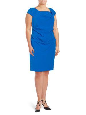 Cap-Sleeve Draped-Front Sheath Dress by Adrianna Papell