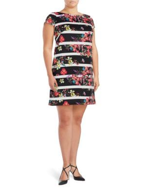 Plus Striped Shift Dress by Adrianna Papell