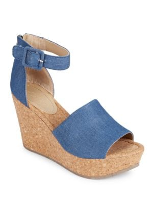 Sole Quest Platform Denim Wedge Sandals by Kenneth Cole REACTION