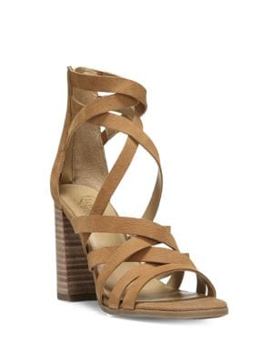 Madrid Stacked Heel Leather Sandals by Franco Sarto