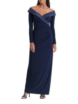Off-Shoulder Satin Trim Gown by Lauren Ralph Lauren