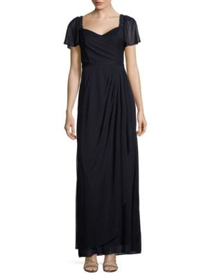 Embellished Flutter Sleeved Gown by Xscape