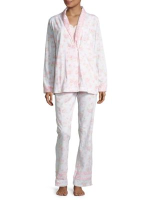 Three-Piece Sleeveless Top, Printed Shirt & Pajama Pants Set by Carole Hochman