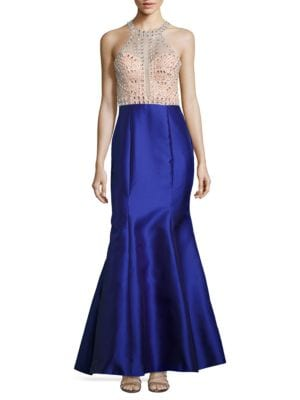 Beaded Satin Haltered Gown by Xscape