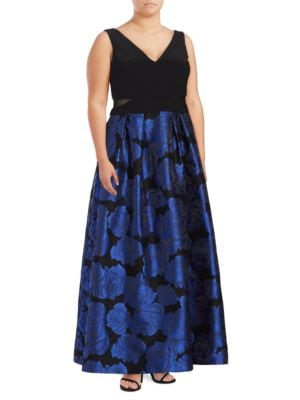 Floral Jacquard A-Line Ball Gown by Xscape