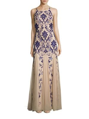 Halterneck Beaded Gown by Adrianna Papell