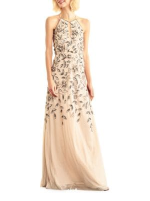 Floor-Length Halterneck Beaded Gown by Adrianna Papell