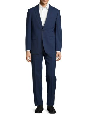 Muted Plaid Wool Pants Suit by Calvin Klein