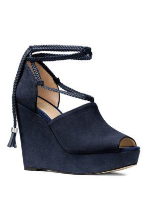 Hastings Suede Open-Toe Wedge Platform Sandals by MICHAEL MICHAEL KORS
