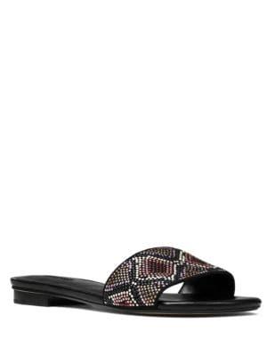 Buy Mercer Beaded Slide Sandals by MICHAEL MICHAEL KORS online