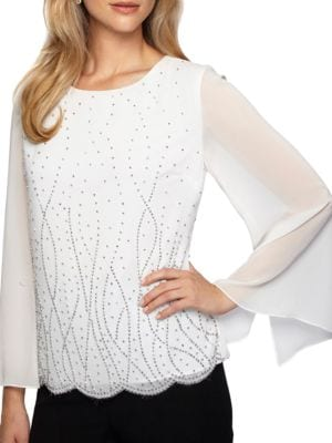 Long Illusion Sleeve Blouse by Alex Evenings
