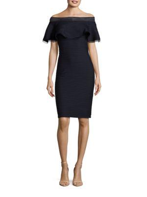 Solid Off-The-Shoulder Dress 500031898653