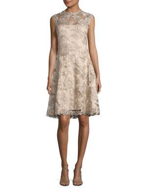 Embroidered Lace A-Line Dress by Tadashi Shoji
