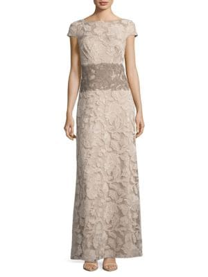 Colorblocked Lace Gown by Tadashi Shoji
