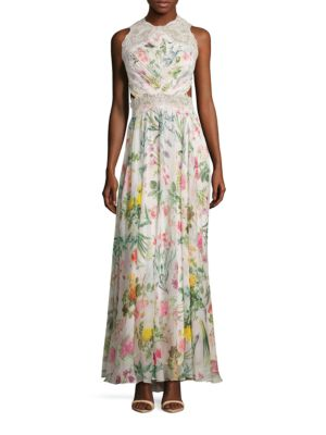 Floral Printed Open Back Gown by Tadashi Shoji