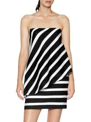 Strapless Striped Jacquard Dress by Halston Heritage