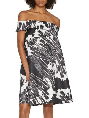 Off-The-Shoulder Printed Trapeze Dress by Halston Heritage