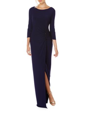 Boatneck Slitted Jersey Gown by Laundry by Shelli Segal