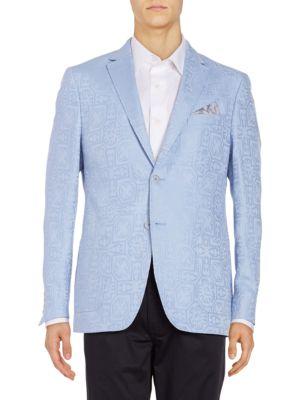 Classic Fit Jacquard Linen-Blend Sportcoat by Tallia Orange